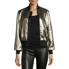 Cinq à Sept Allura Metallic Bomber Jacket ($530) ❤ liked on Polyvore featuring outerwear, jackets, gold, puffa jackets, puffer jacket, zip front jacket, puff jacket and bomber jacket