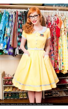 Pinup Couture- Dee Dee Dress in Pastel Yellow and White Pin Dots | Pinup Girl Clothing