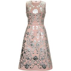 Dolce & Gabbana Double Crepe Metallic Leather Applique A-Line Dress (39.910 BRL) ❤ liked on Polyvore featuring dresses, dolce & gabbana, light pink, metallic dress, flower print dress, a line dress, floral-print dresses and crepe dress
