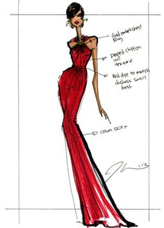 JANUARY 22 - Jason Wu releases a sketch of the custom-made ruby chiffon and velvet gown worn by Michelle Obama to the first of the 2013 inaugural balls - complete with annotated notes. The dress featured a handmade diamond-embellished ring in the centre by jewellery designer Kimberly McDonald.  I just love this sketch.