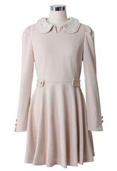 Peter Pan Knit Collar Pleated Dress