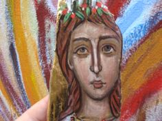 Santa Lucia in Beachwood Religious Icons, Religious Art, Beach Wood, Byzantine Icons, Catacombs, Santa Lucia, Driftwood Art, Most Visited, Surfing