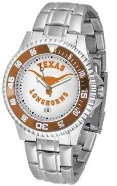 Texas Competitor Men's Steel Band Watch by SunTime. $76.95. Showcase the hottest design in watches today! The functional rotating bezel is color-coordinated to compliment your favorite team logo. The Competitor Steel utilizes an attractive and secure stainless steel band.. Save 24%!