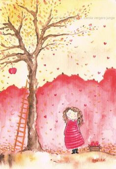 girL with red coat and Ladder to fruit, stares @ Tree