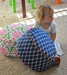 floor pouf tutorial! - i would increase the height and use her suggestion to fill w/ bean bag pellets.  and no handle