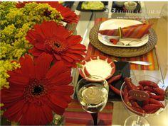 mesa jantar romantico vermelho