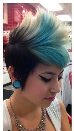 Black blonde turquoise blue spiked hair