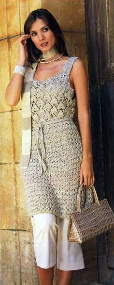 Туника песочного цвета - Вязание Крючком. Блог Настика. Схемы, узоры, уроки бесплатно