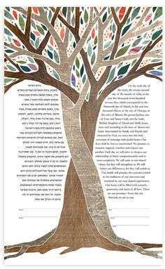 Like the art but not the text.  Intertwined Trees Ketubah - Enchant - ds