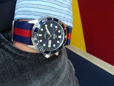 """Wearing my Orient """"Ray"""" on blue and red NATO strap."""