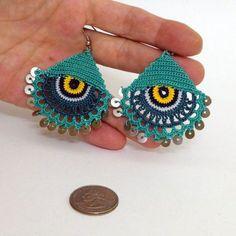 Eye Earrings - Tatting Jewelry - Summer Earrings - Lace Jewelry - Crochet Pendientes - Boho Earrings: