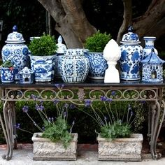 Blue and White Decor: Porcelain, Ginger Jars, Pillows - Why it Never Goes out of Style, 2015 Blue And White China, Blue China, Love Blue, Delft, Magic Garden, Herb Garden, Garden Art, Garden Design, White Planters