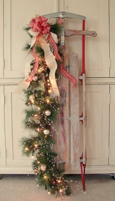 56 Excellent Christmas Wearth Decoration For Your Door. Flowers play a significant role in Christmas decorations, all over the world. People decorate their homes and work places with a variety . Christmas Sled, Merry Little Christmas, Primitive Christmas, Country Christmas, Christmas Projects, All Things Christmas, Winter Christmas, Christmas Lights, Vintage Christmas