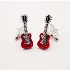Gemelos para camisa, Gemelos de acero bañados en Rodio, Gemelos guitarra electrica roja. www.tutunca.es/gemelos-guitarra-electrica-roja