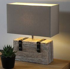 Fabric Table Lamp Vintage Industrial Shade Wooden Metal Light Large Rectangle
