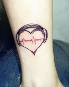 Music Heart Tattoo On Ankle
