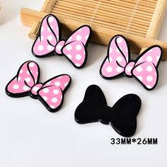 50pcs/lot 33*26MM Light Pink Dotted Hair Bow Resin Planar Flat Back Resine DIY Craft For Home Decoration Accessories DL-724