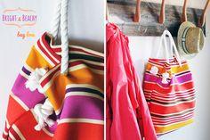 Striped no-sew beach bag   40 Awesome DIY Totes