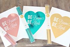 Be Brave & Be Kind Foil Print with Heidi Swapp's Minc Machine. An introduction to the Minc Machine with this fun project. 1st Birthday Girls, 1st Birthday Parties, Minc Machine, Aluminum Foil Art, Deco Foil, Unicorn And Glitter, Heidi Swapp, Homemade Gifts, Fun Projects