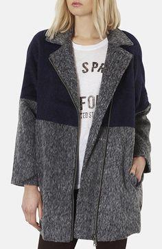 two-tone textured coat / topshop @Nordstrom.
