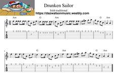 Drunken Sailor Easy Guitar Tab / Sheet Music + Chords Easy Guitar Tabs, Easy Guitar Songs, Wildwood Flower, Irish Songs, Lord Of The Dance, Music Chords, Learn Chinese, Irish Traditions, Folk Music