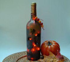 wine bottle lamp, autum leaves, orange, Thanksgiving. $23.00, via Etsy.
