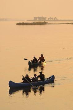 Canoes on the Zambezi River