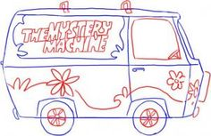 how to draw the mystery machine from scooby doo step 3