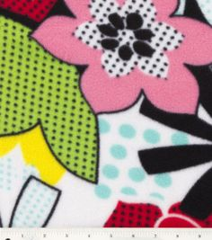 Anti Pill Fleece Fabric-Comic Floral, , hi-res