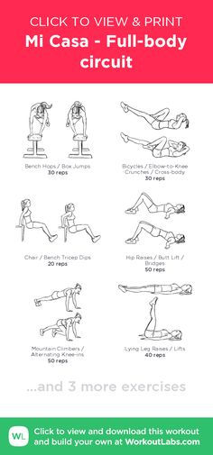 Mi Casa - Full-body circuit – click to view and print this illustrated exercise plan created with #WorkoutLabsFit