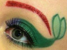 Mermaid eye makeup art with red eyebrows and green tail --Ariel Eyeshadow Mermaid Eye Makeup, Little Mermaid Makeup, Ariel Makeup, Mermaid Eyes, Disney Makeup, Ariel Mermaid, Maquillage Halloween, Halloween Makeup, Makeup Art