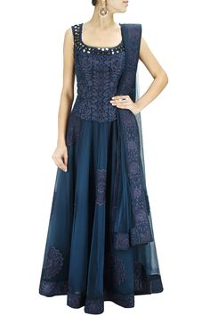 GET FLOORED : Navy blue tone-on-tone embroidered anarkali with matching embroidered dupatta. By Jade