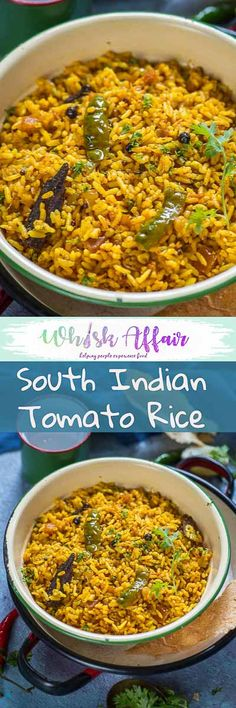 Tomato Rice is a delicious South Indian style rice recipe which is super quick to make. make it for breakfast, lunch or dinner, it fits it all. Vegan Indian Recipes, Veg Recipes, Spicy Recipes, Lunch Recipes, Vegetarian Recipes, Cooking Recipes, Recipies, Healthy Recipes, Veg Dishes