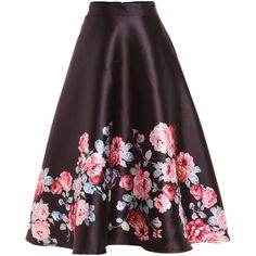 Rose Print Flare Midi Skirt ($25) ❤ liked on Polyvore featuring skirts, black, long print skirt, flared midi skirt, rose print skirt, long flared skirt and full length skirt