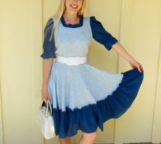 Vintage 1960s Blue Floral Ruffled Square-dancing / Swing-dancing Dress, Size Small