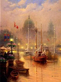 """Harbor Fog"" oil - Gerald Harvey Jones (American, B.1933)"
