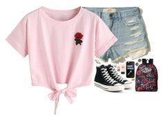 """Untitled #370"" by sofia-collins8 on Polyvore featuring Hollister Co., WithChic, Converse, Vans, Ray-Ban, Olivia Burton and Stila"