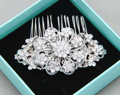 Bridal Hair Comb Wedding Hair Comb Abstract Silver by BlingGarden