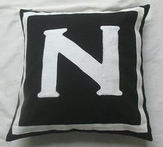 Letter N black and white monogram pillow by Comfyheavenpillows, $27.99