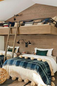 Decorating Inspiration From a Canyon Home in Santa Monica Wooden Wall Design, Wooden Walls, Santa Monica, Teen Boy Bedding, Modern Bunk Beds, Modern Rustic Homes, Bunk Bed Designs, California Living, Kids Bunk Beds