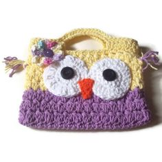 Easter Gift Owl Purse Free Hair Clips Included  by Made4UCrochet, $15.00