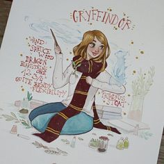 "2,453 Me gusta, 15 comentarios - Raquel (@raqueltraveillustration) en Instagram: ""100 points to Gryffindor! Commission for the lovely @krysta_w ❤ thank you so much!! I'm available…"""