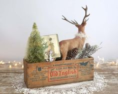 Vintage Style Christmas Decoration Flocked Deer Bottle Brush