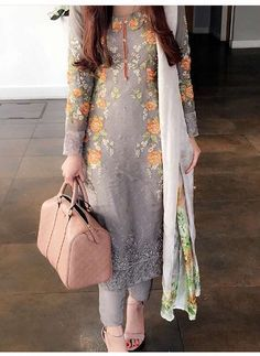 Simple Maria B | grey shirt with pajama and white dupatta | great for eid or dinners and stuff like that | orange rose embroidery