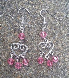 Silver Heart Shaped Pink Crystal Bead Dangle Earrings/Wedding/Anniversary/Prom/Valentine/Bridesmaid/Gift Idea/Handmade/Accessory/Elegant