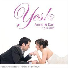Wandtattoo Hochzeit Yes mit Vornamen und Datum 03
