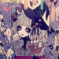 Spooky Manga Witch Halloween Girl.