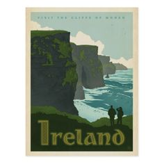 Get your hands on a customizable Ireland Vintage Travel postcard from Zazzle. Find a large selection of sizes and shapes for your postcard needs! Vintage Travel Posters, Vintage Postcards, Vintage Travel Decor, Photo Vintage, Vintage Art, Design Vintage, Poster Prints, Art Prints, Gig Poster