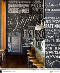 Bar Rustique - i don't think we need this huge chalkboard, but i like the typography on it Chalkboard Typography, Chalk Lettering, Typography Art, Chalkboard Walls, Chalkboard Designs, Diy Chalkboard, Lettering Design, Chalkboard Writing, Handwritten Typography