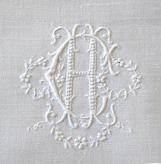 WHITEWORK: Antique Embroidered Appenzell linen monogrammed napkins: CH / from Em's Heart. Embroidery Monogram, Embroidery Transfers, Vintage Embroidery, Embroidery Stitches, Embroidery Designs, White Embroidery, Monogram Design, Monogram Styles, Monogram Fonts